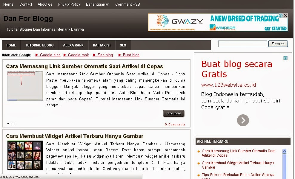 Download Template Blog yang di Pakai Dan For Blogg