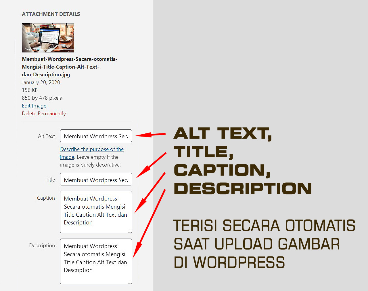 ALT TEXT, TITLE, CAPTION, DESCRIPTION akan Terisi Secara Otomatis Saat Upload Gambar di WordPress