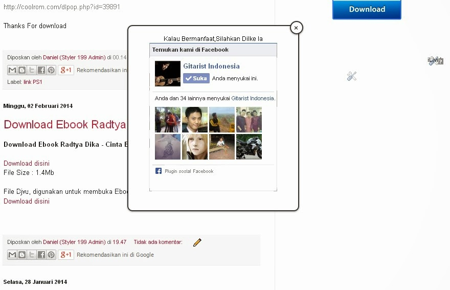 Cara Memasang Fans Page Facebook Melayang di Blog