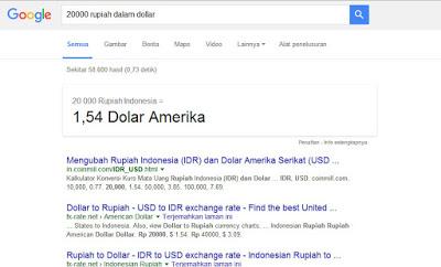 Hal Menarik yang Bisa Di lakukan Google Search - Konversi Mata Uang