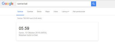 Hal Menarik yang Bisa Di lakukan Google Search - Waktu Sunrise