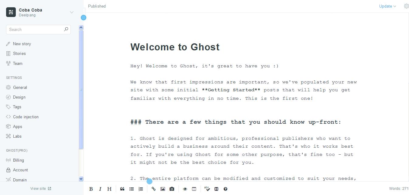 Dashboard Ghost