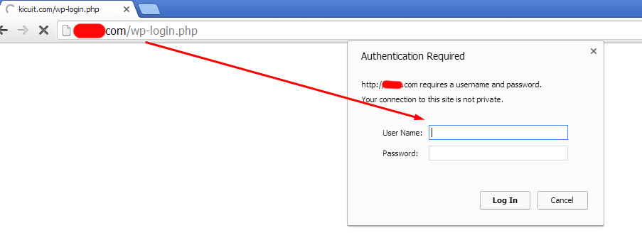 Authentication Required Pada WordPress (CHROME)