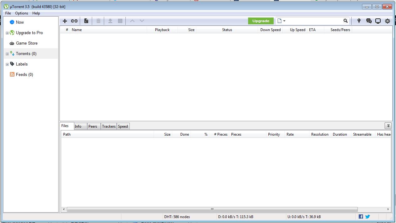 Tampilan uTorrent dengan kotak iklan yang sudah non-aktif